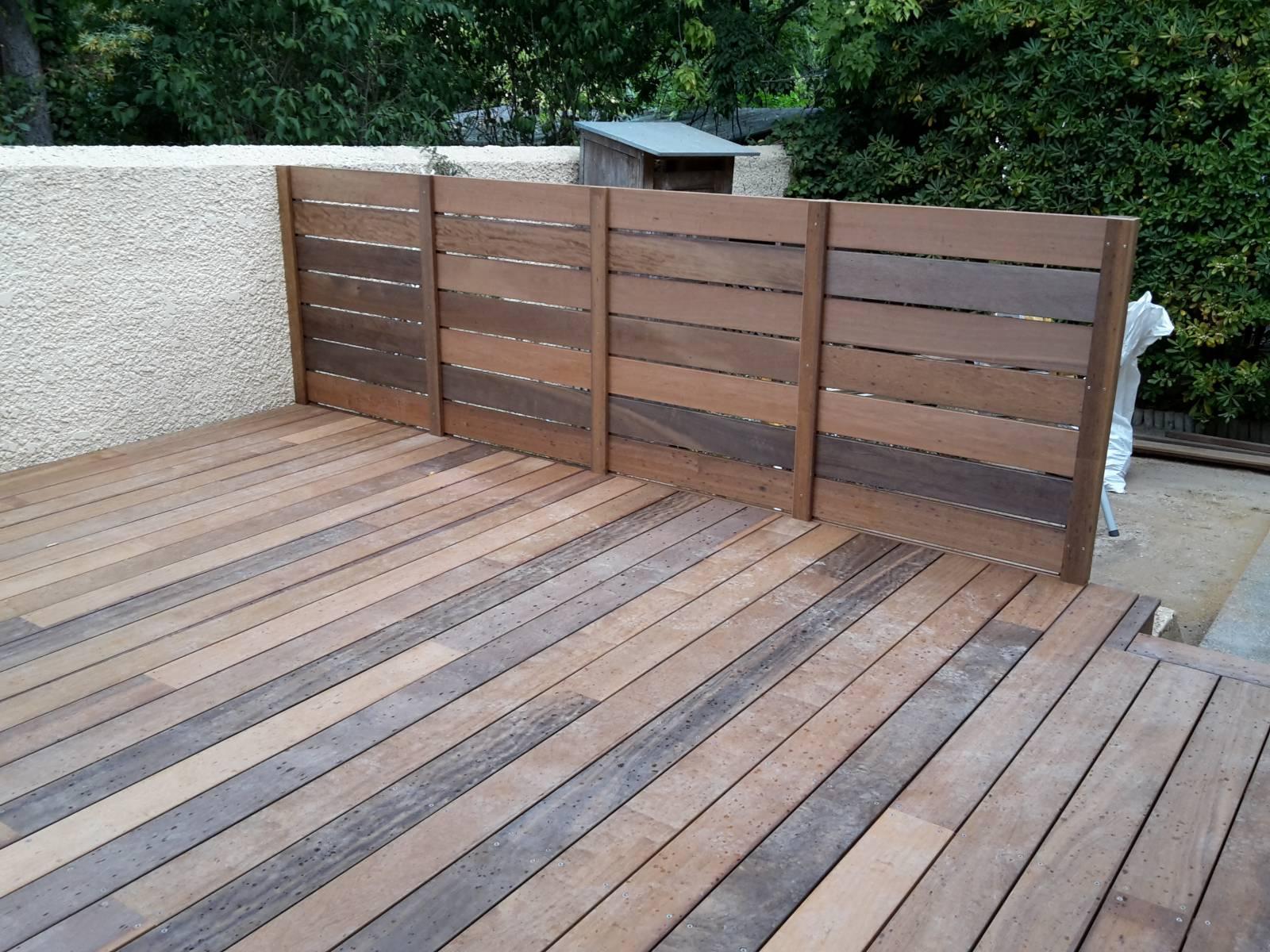 """Brise Vue Terrasse Bois réalisation et pose d""""une terrasse en bois d'itauba avec"""