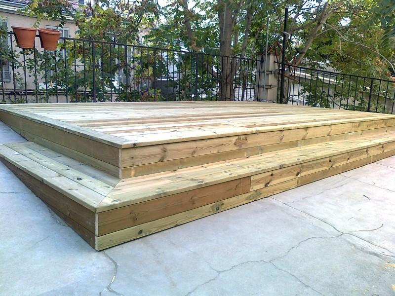 Terrasse en pin rainur classe 4 sur toit terrasse en - Terrasse bois pin classe 4 ...