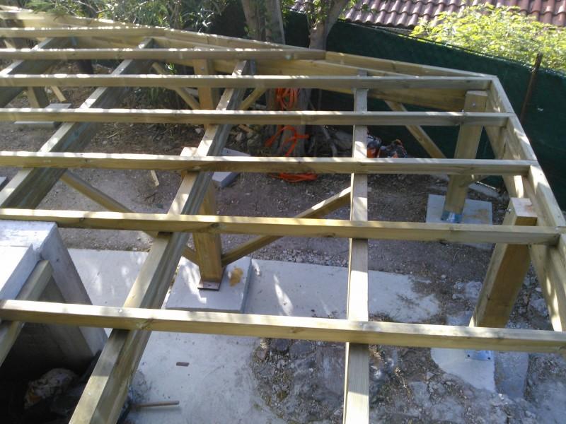 Terrasse suspendue en ip et structure en pin classe 4 - Terrasse bois pin classe 4 ...